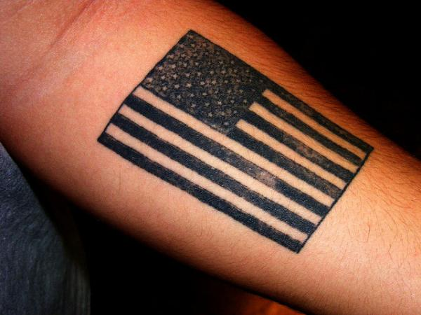 Nice American Flag Tattoo On Forearm