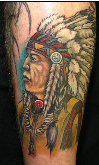 Nice Colored Native American Head Tattoo