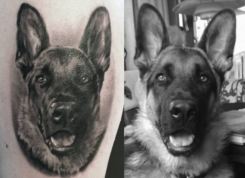 Nice Dog Portrait Tattoo