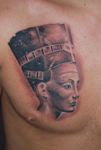 Nice Egyptian Queen Nefertiti Portrait Tattoo On Chest