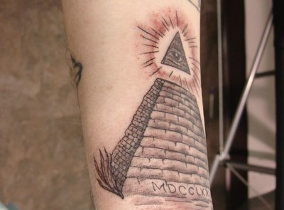 Nice Grey Ink Pyramid Tattoo