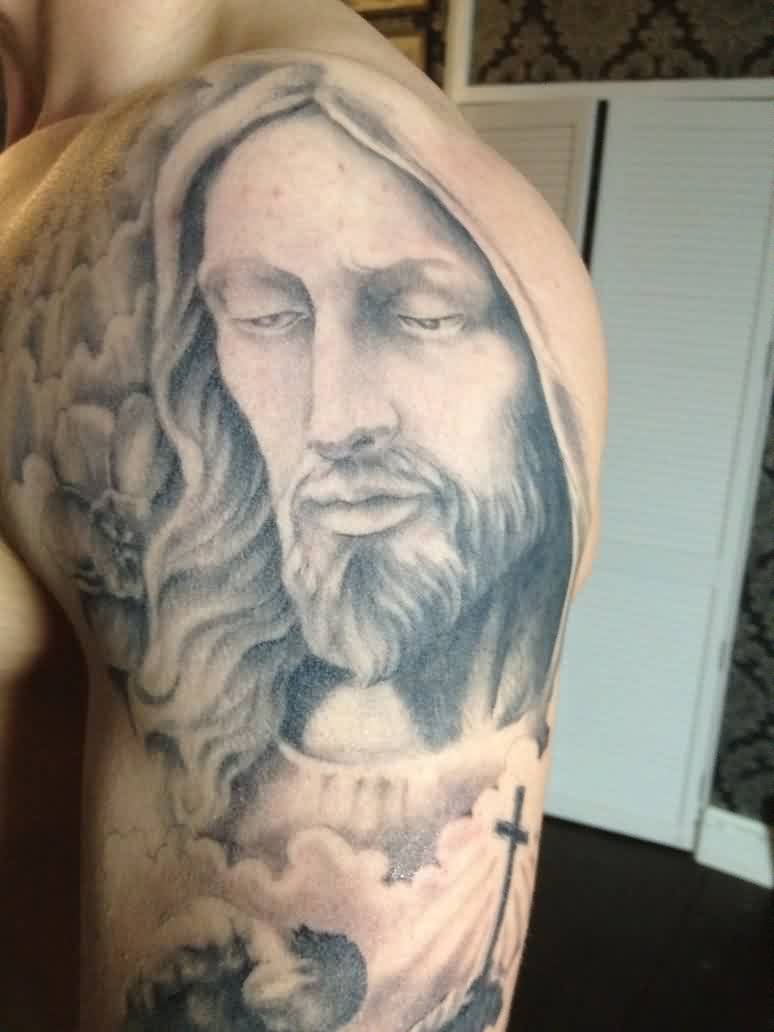 Nice Grey Jesus Portrait Tattoo On Shoulder For Men