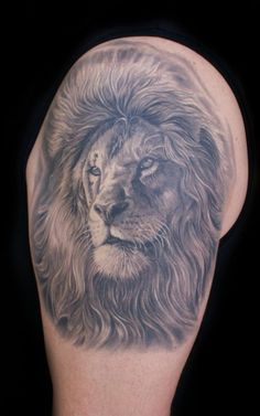 Nice Grey Lion Tattoo On Biceps