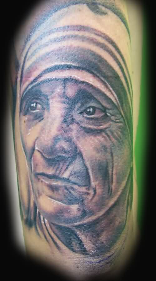Nice Grey Mother Teresa Portrait Tattoo