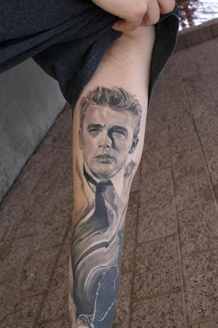 Nice James Dean Portrait Tattoo On Arm