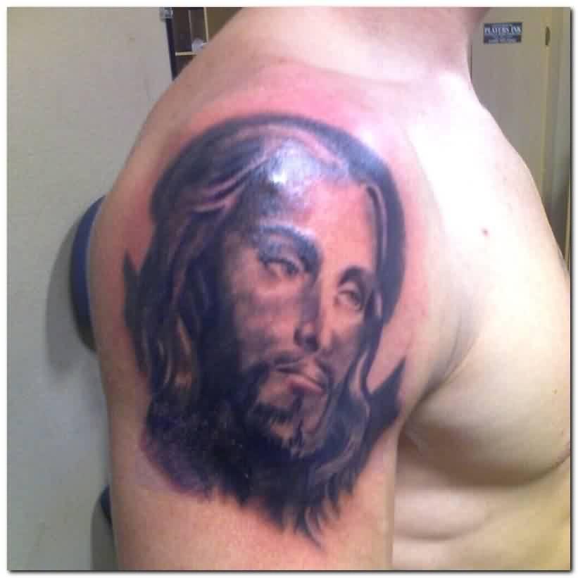 Nice Jesus Portrait Tattoo On Shoulder