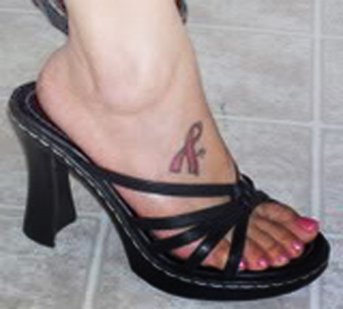 Nice Pink Ribbon Tattoo On Foot