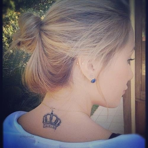 Nice Queen's Crown Tattoo On Back Neck