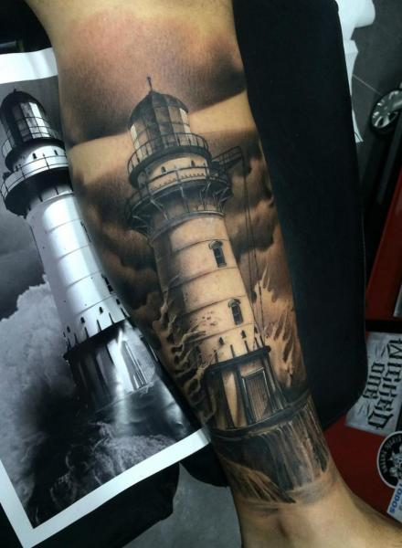 Nice Realistic Lighthouse Tattoo