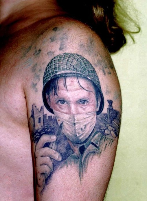 Nice Soldier Portrait Tattoo On Shoulder