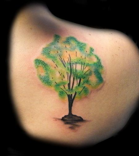 Nice Watercolor Tree Tattoo On Back Shoulder