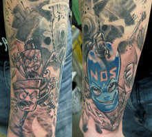Nos Bottle And Explosion Focus Tattoos