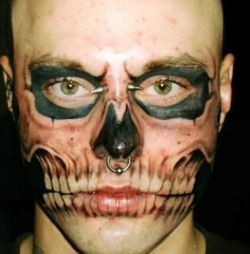 Nose Piercing And Bone Tattoos On Face