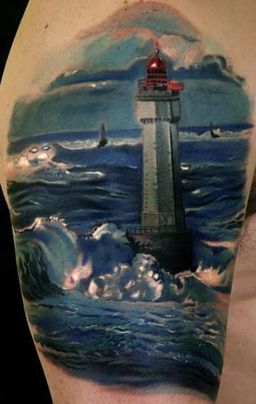 Ocean Lighthouse Scene Tattoo On Biceps