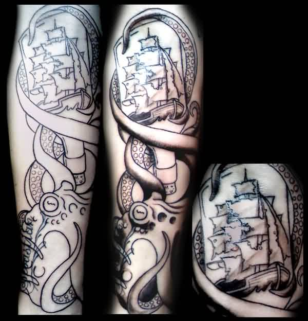 Octopus Bottle Ship Tattoos
