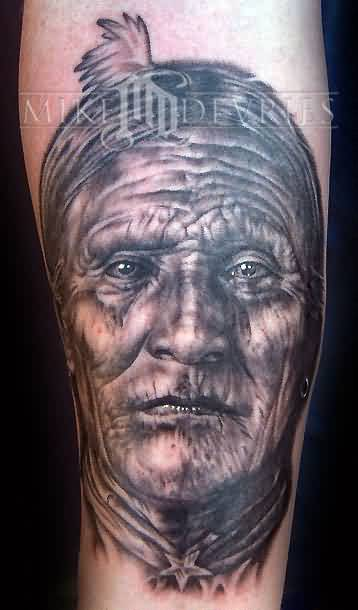 Old Aged Portrait Tattoo