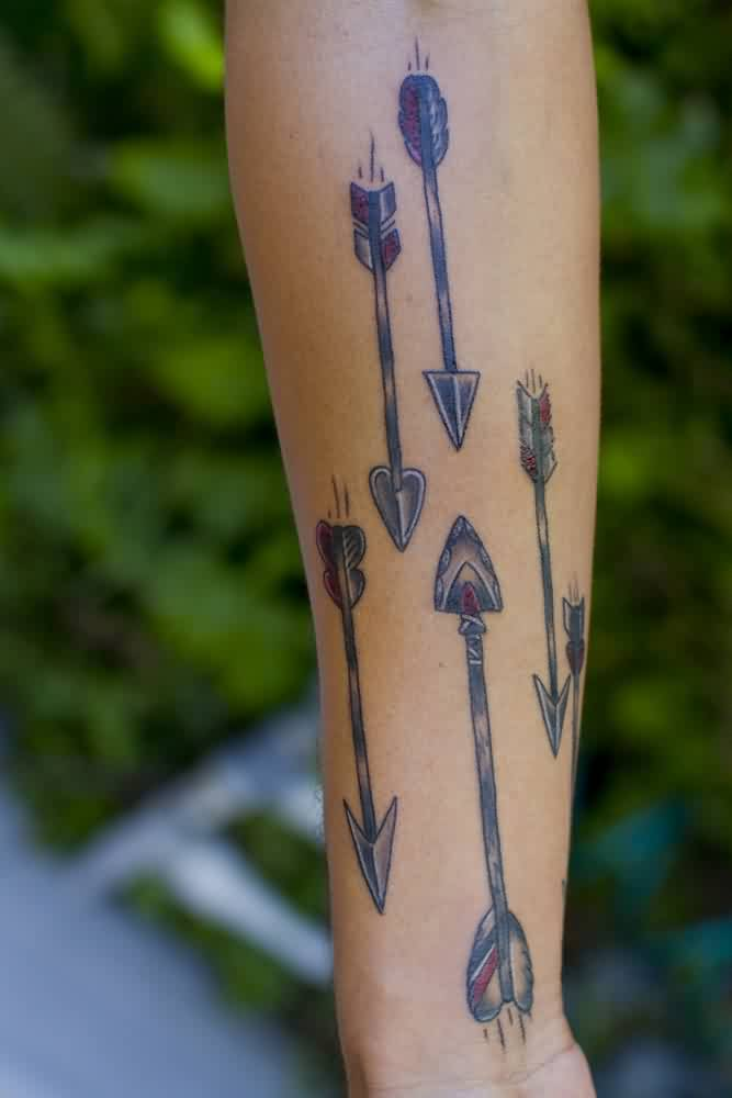 Old Arrow Tattoos On Forearm