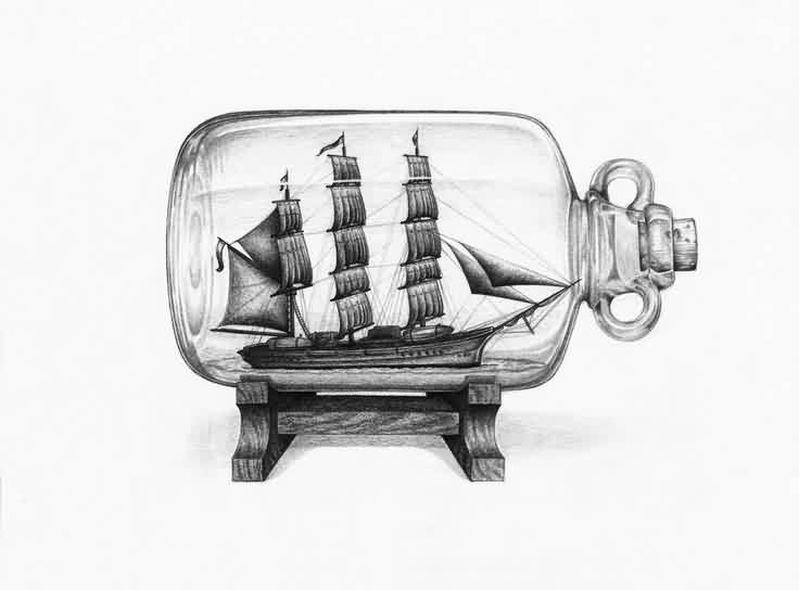 Old Bottle With Ship Tattoo Design