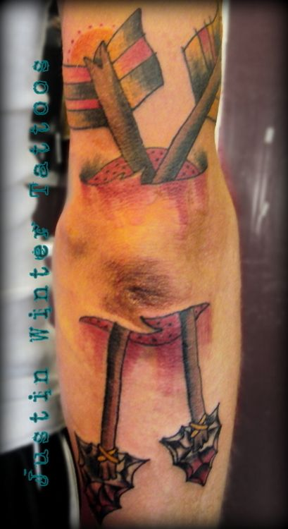 Old Crossed Arrow Ripped Skin Tattoo