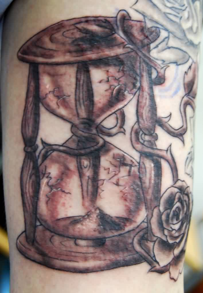 Old Hour Glass And Rose Tattoos