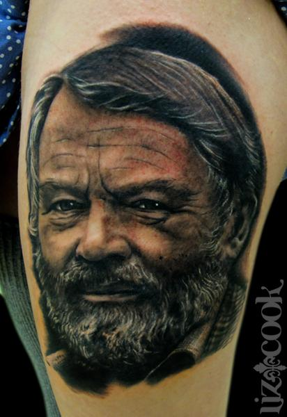 Old John Fowles Portrait Tattoo