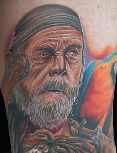 Old Man And Colorful Parrot Portrait Tattoos