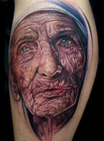 Old Mother Teresa Portrait Tattoo