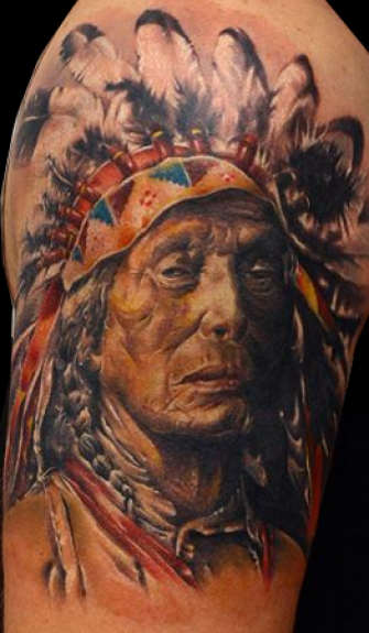 Old Native American Portrait Tattoo