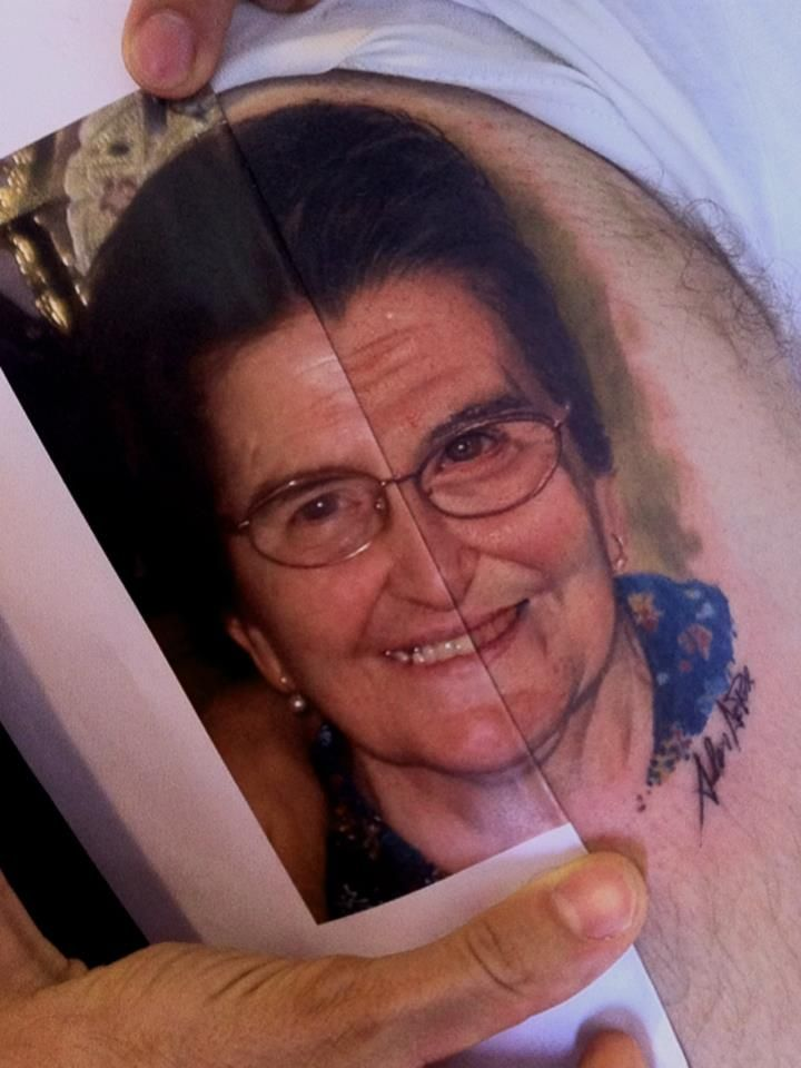 Old People Smiling Portrait Tattoo