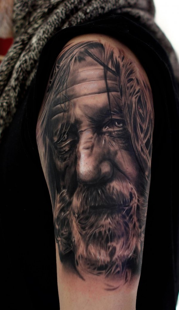 Old Portrait Tattoo On Half Sleeve