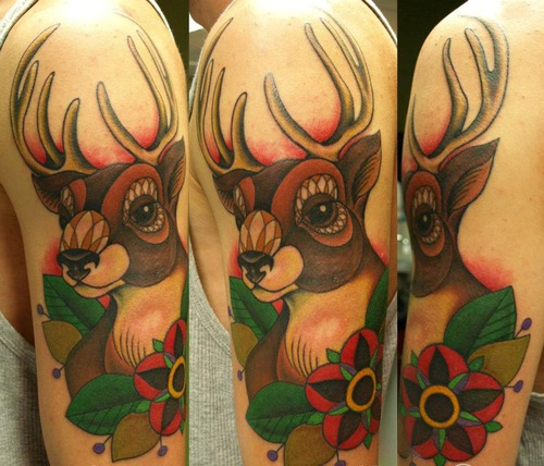 Old School Deer And Flower Tattoos On Biceps