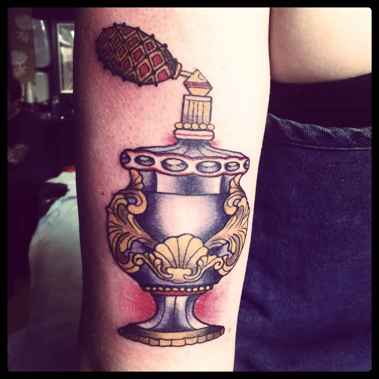 Old Style Perfume Bottle Tattoo