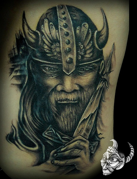 Old Viking Head In Helmet Tattoo (2)