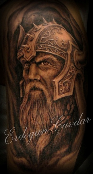 Old Viking Head In Helmet Tattoo