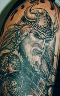 Old Viking Helmet Tattoo