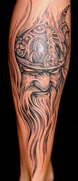 Old Viking Wearing Helmet Tattoo (2)