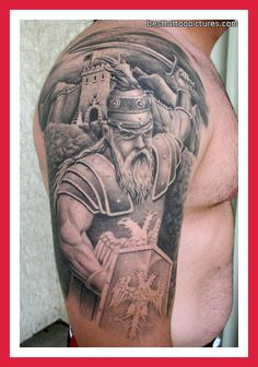 Old Viking Wearing Helmet Tattoo