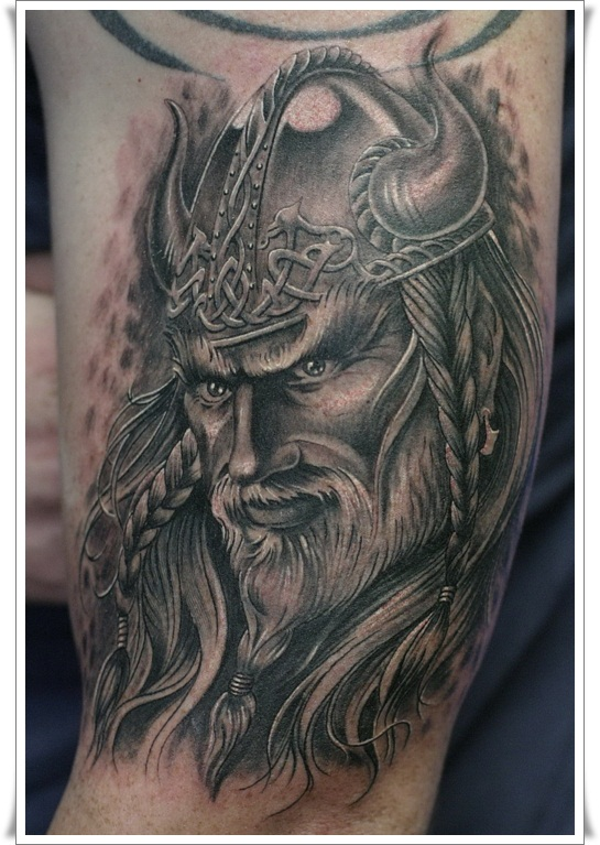 Old Warrior Head In Celtic Helmet Tattoo