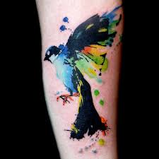 Once Again Watercolor Bird Tattoo