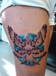 Open Wings Pigeon Tattoo On Thigh