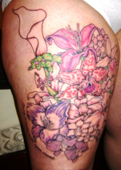 Orchid And Tulip Tattoos On Thigh