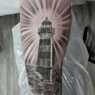 Original Looking Lighthouse Tattoo