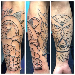 Outline Clock Owl And Eye Pyramid Tattoos
