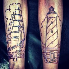 Outline Clouds Ship And Lighthouse Tattoos