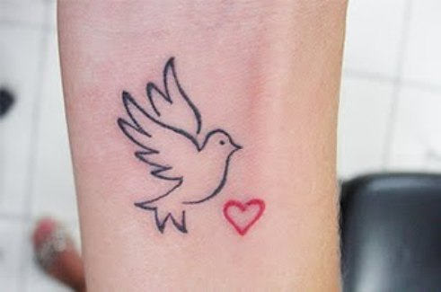 Outline Dove And Heart Tattoo