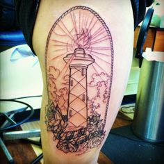 Outline Lighthouse Tattoo On Side Of Thigh