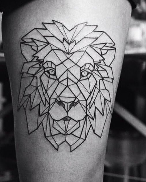 Outline Lion Head Tattoo