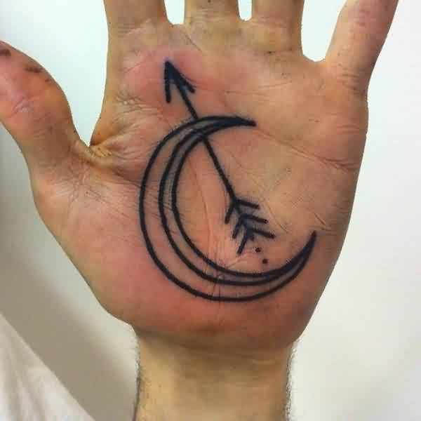 Outline Moon And Arrow Tattoo On Palm