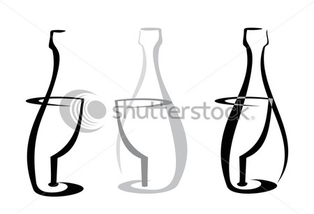 Outline Of Wine Bottle And Glass Tattoo Designs On White Background
