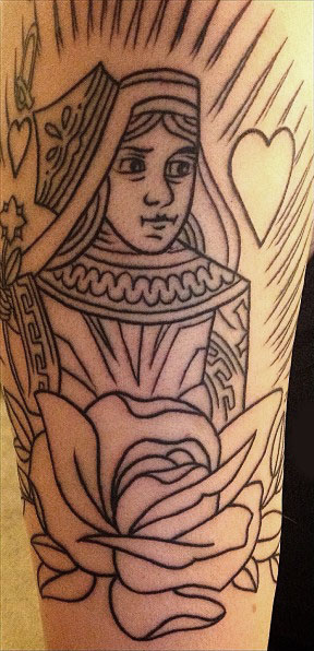 Outline Queen And Rose Tattoos